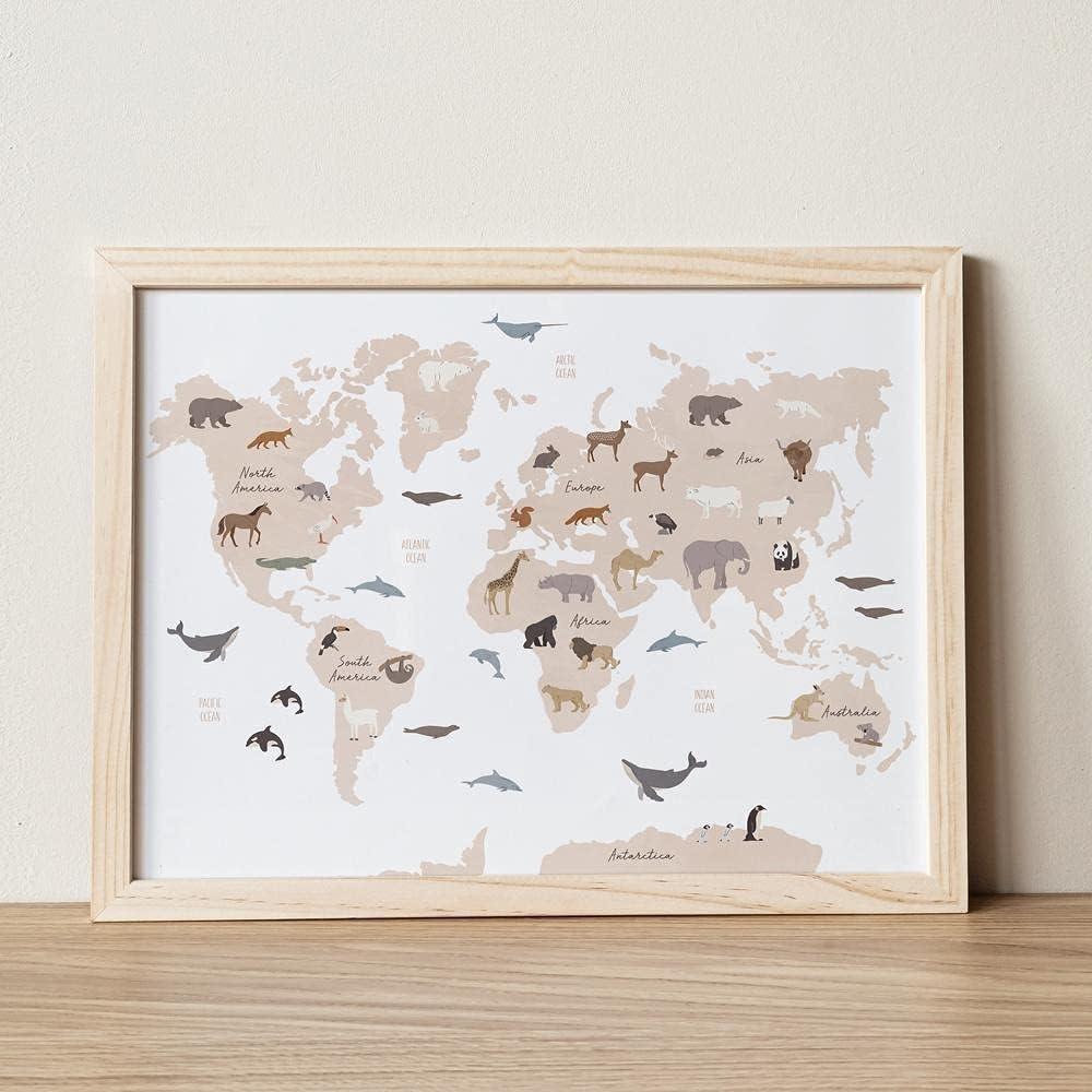 MG Global Animal World Map, World Map Poster, World Map Animals, Safari Nursery Decor, World Map Wall Art, Kids World Map, Educational Posters - Unframed Wall Art