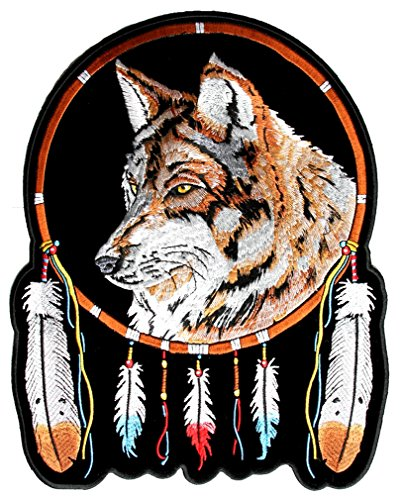 - Leather Supreme Wolf, Feathers Native Indian Dream Catcher Biker Patch-Brown-Medium