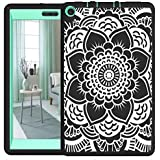 Hocase Fire HD 8 2017 Girls Case Drop Resistant Hybrid Dual Layer Protective Hard Rubber Case with Cute Flower Design for Fire HD 8 Tablet (7th Generation) - Black / Teal