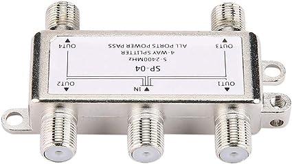 certylu Splitter de Cable coaxial Digital de 4 Canales ...
