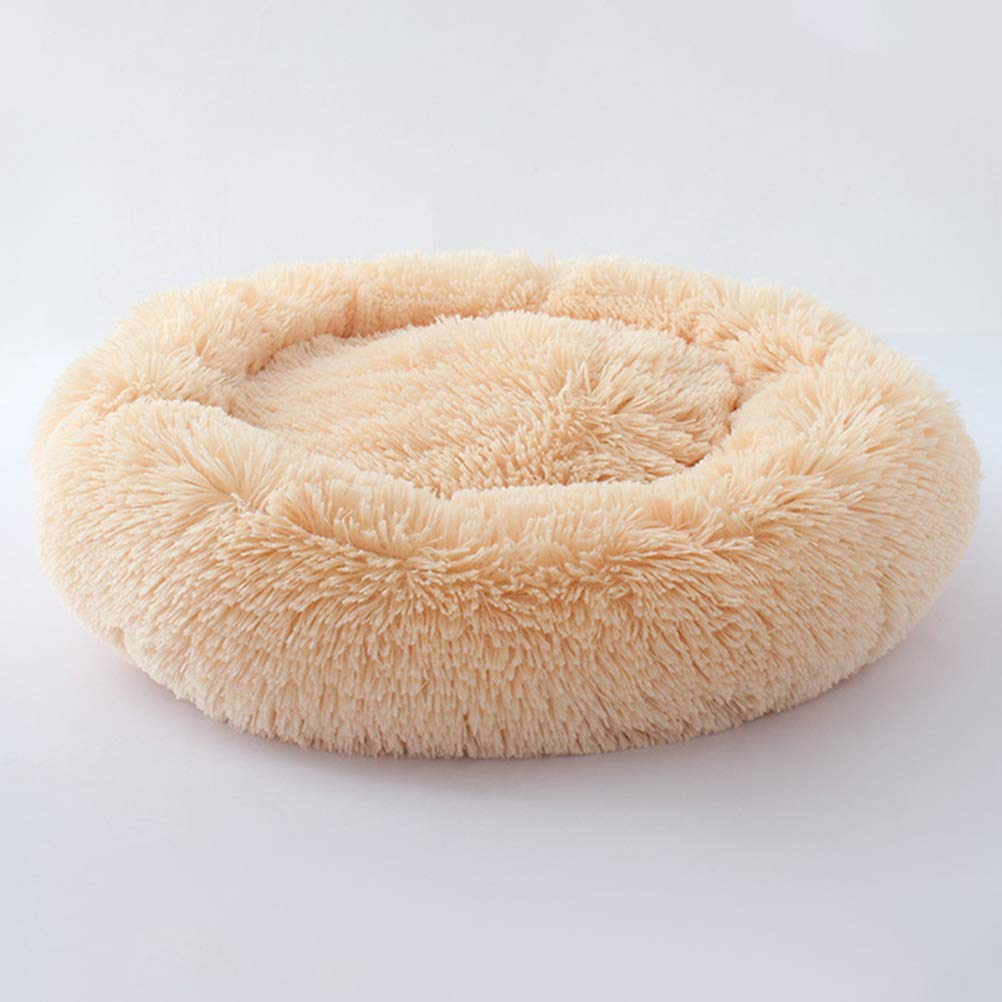 POPETPOP Luxury Shag Fur Donut Cuddler Round Cat and Dog Cushion Bed Self-Warming and Cozy for Improved Sleep (Big Size, Beige) by POPETPOP (Image #9)