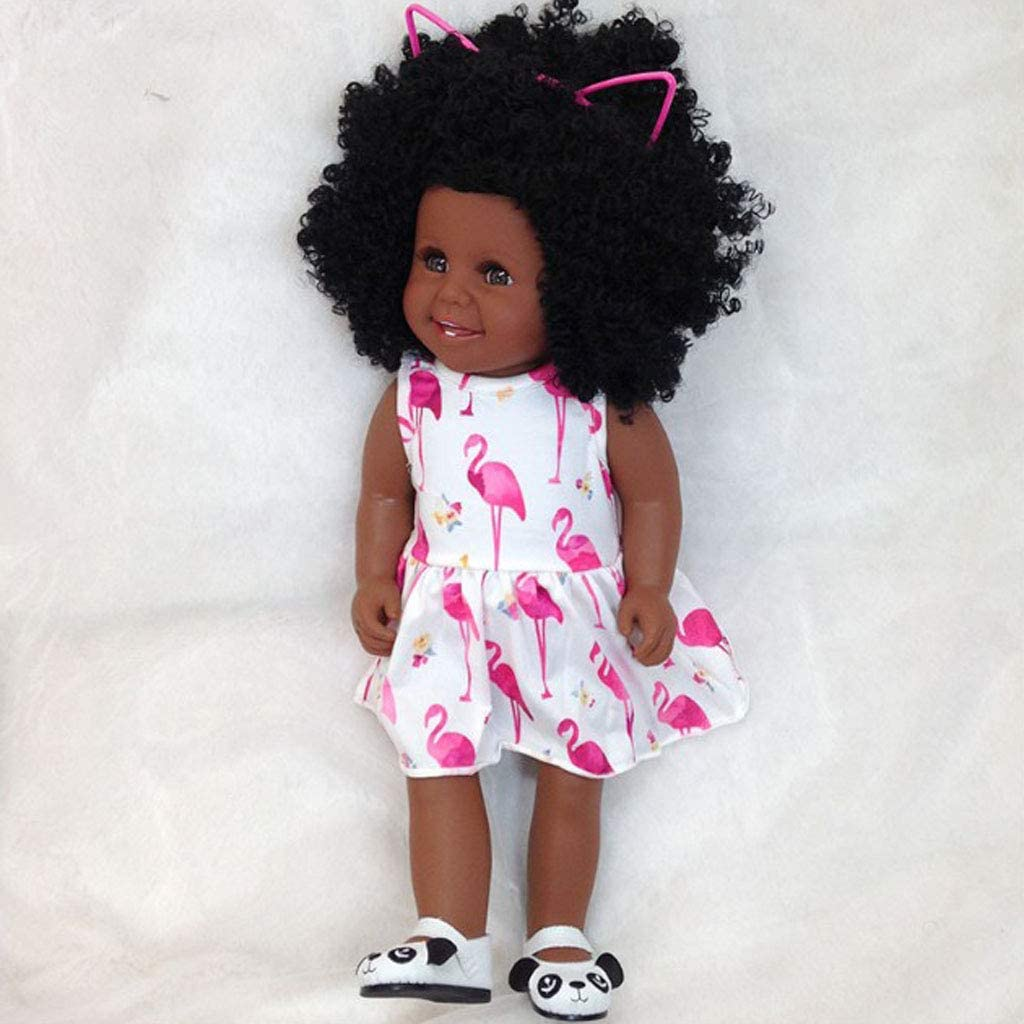 Perfeclan 45cm Simulation Silicone Baby Doll African Little Girl Black Doll Curly Hair Kids Toys Amazon Co Uk Toys Games
