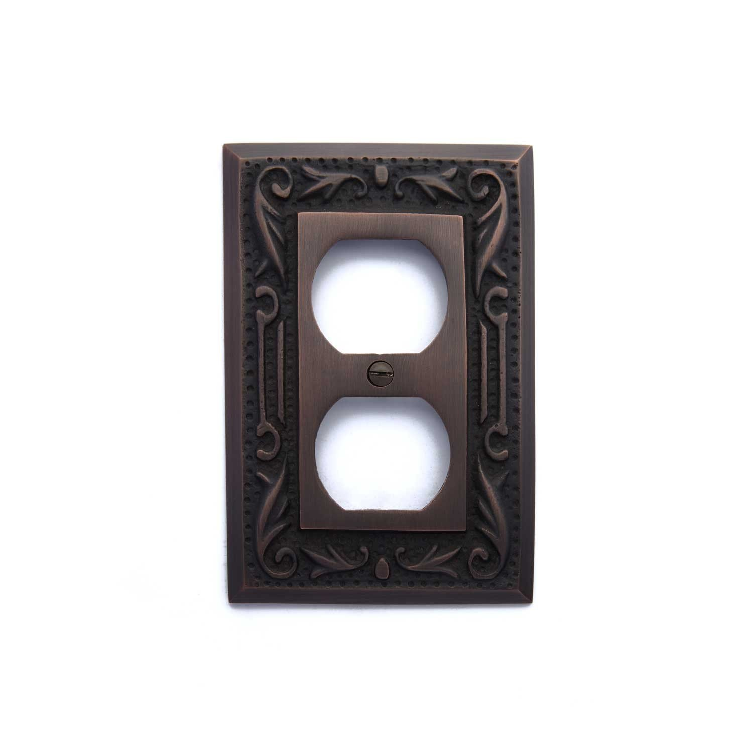Naiture Floral Design Solid Brass Single Duplex Outlet Cover, Wall Plate, Switch Plate, Oil Rubbed Bronze Finish