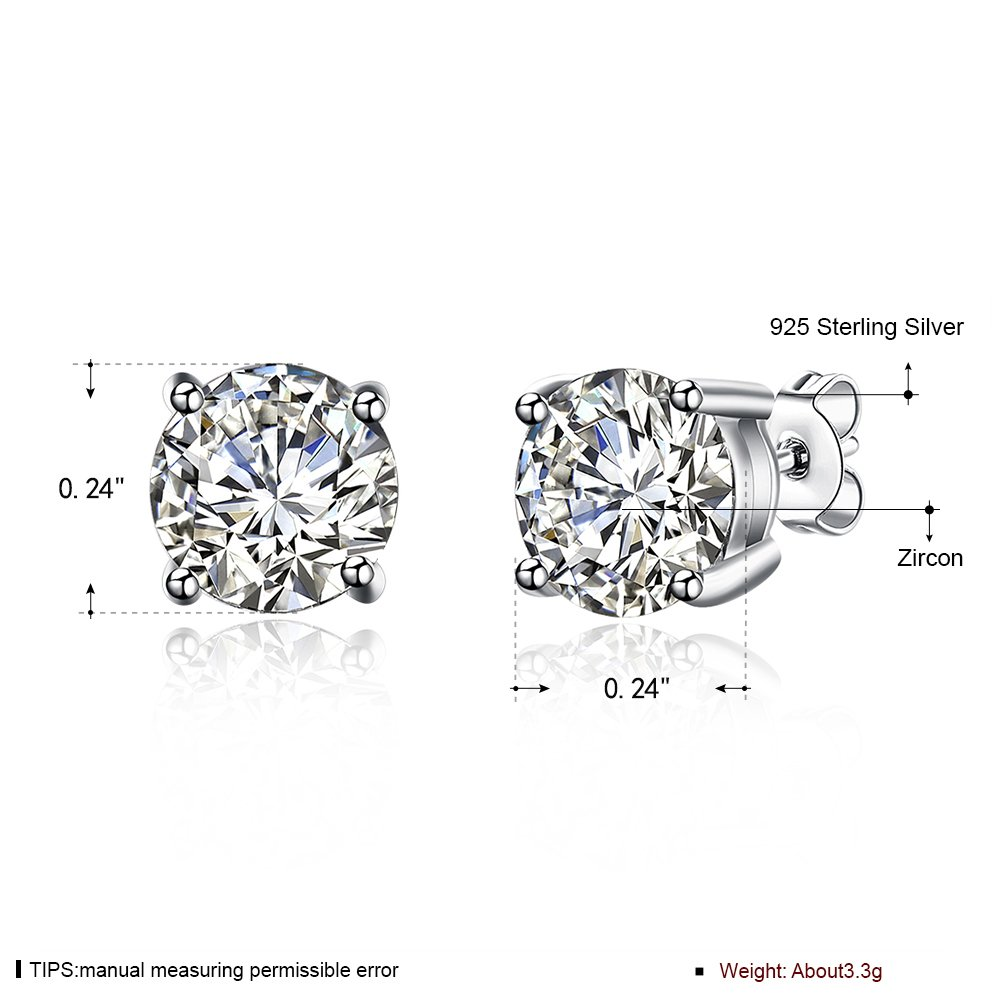 02ff1bbab Amazon.com: Sterling Silver 4-7mm Round Cut Cubic Zirconia (CZ) Stud  Earrings for Women Men (Extra 2 Pairs Plastic Ear Backs) (6mm-1): Jewelry