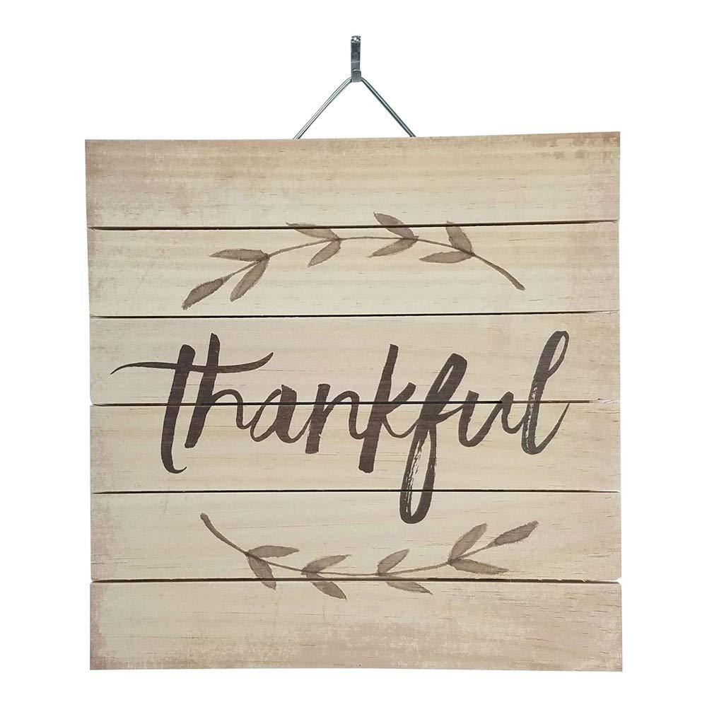 Imprints Plus Thankful Wood Sign, 12'' x 12'' Rustic Home Decor Plaque with Hanger Bundle 48-03022