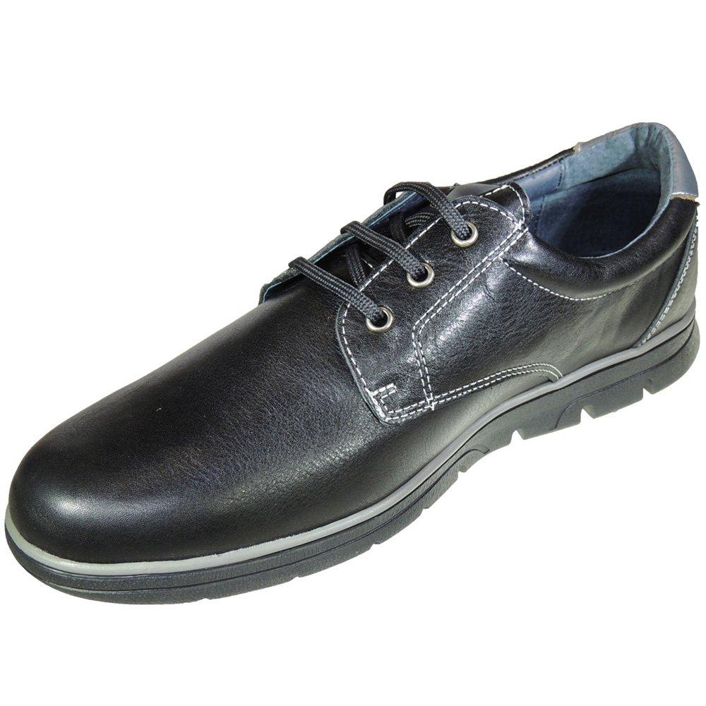Nautic_Blues. Zapato Casual en Piel con Cordones y Piso Grueso para Hombre - Modelo 300 45 EU|Negro
