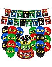 Heidaman Ninjago Birthday Party Supplies Ninja Birthday Decorations Ninjago Party Supplies Set Include Ninjago Banners Balloons Cake Toppers