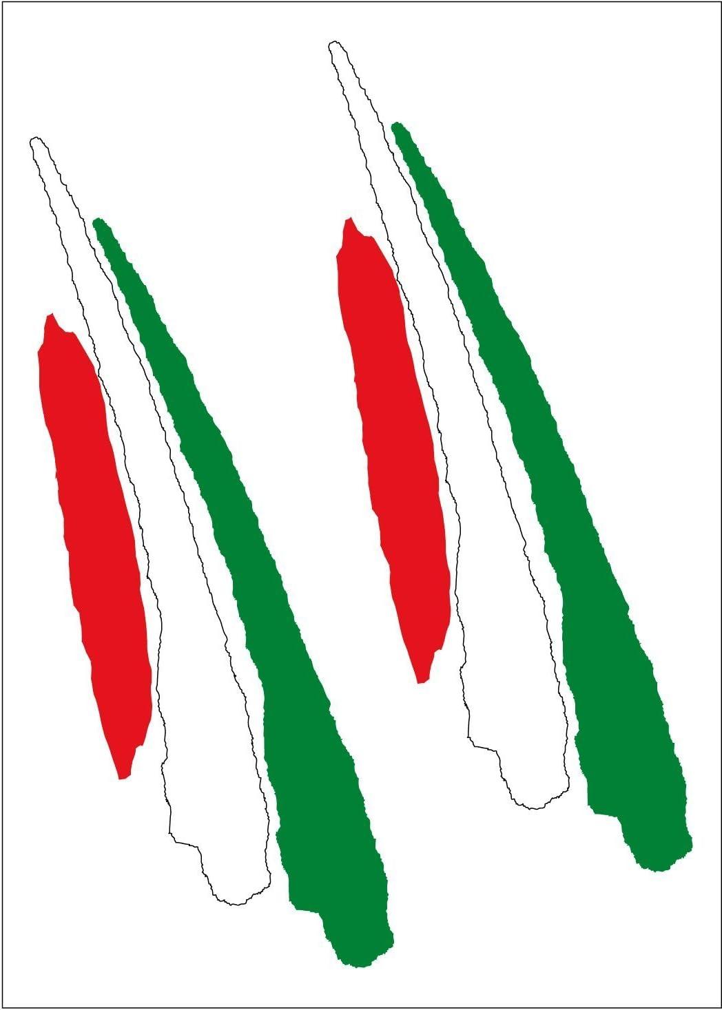 Aufkleber Fahnenschwingen Verlängert Italien 2 Stück 90x25 Mm Stück Auto