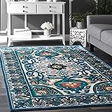 nuLOOM 200BHBZ01A-609 Floral Leda Area Rug, 6' x 9', Blue