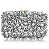 Stunning Rhinestone Party Clutches Cocktail Crossbody Evening Bags For Women Handbag (Silver)