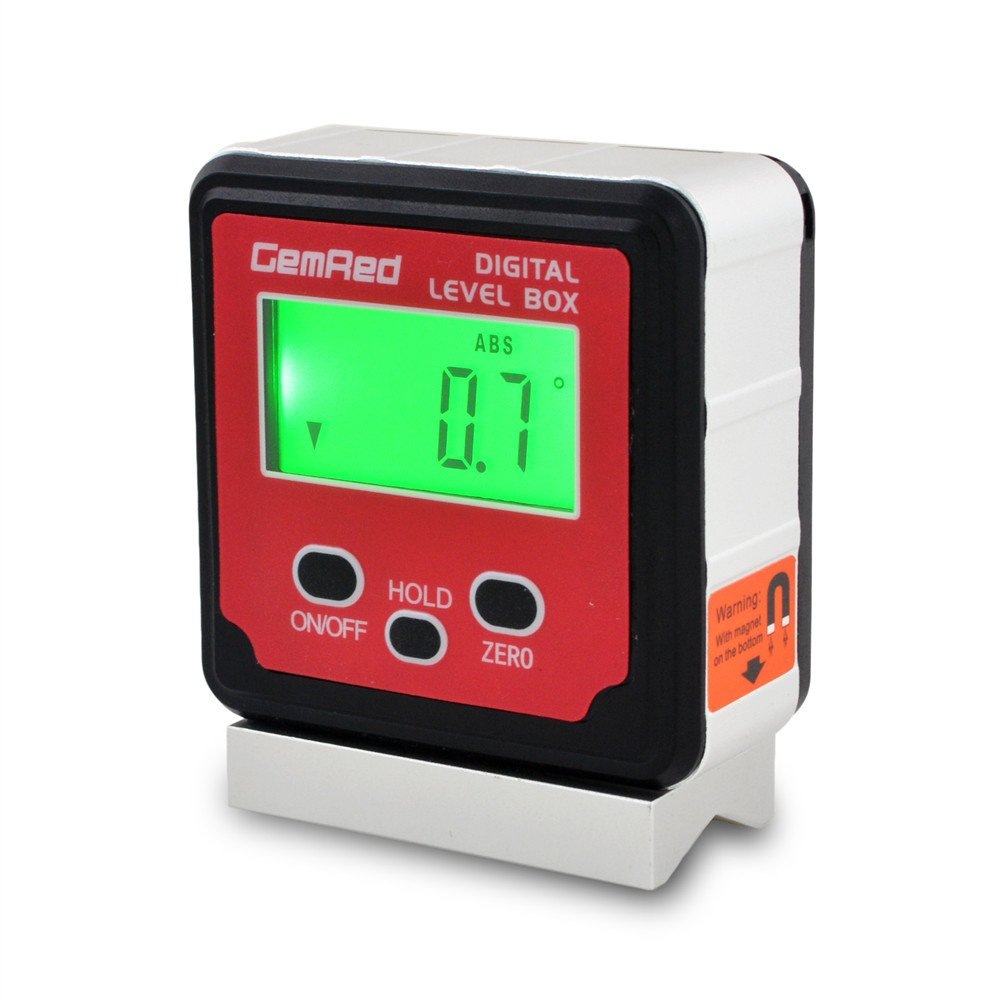 GemRed 82413 Digital Protractor Angle Finder Gauge Inclinometer with Backlight and Magnetic Base IP65