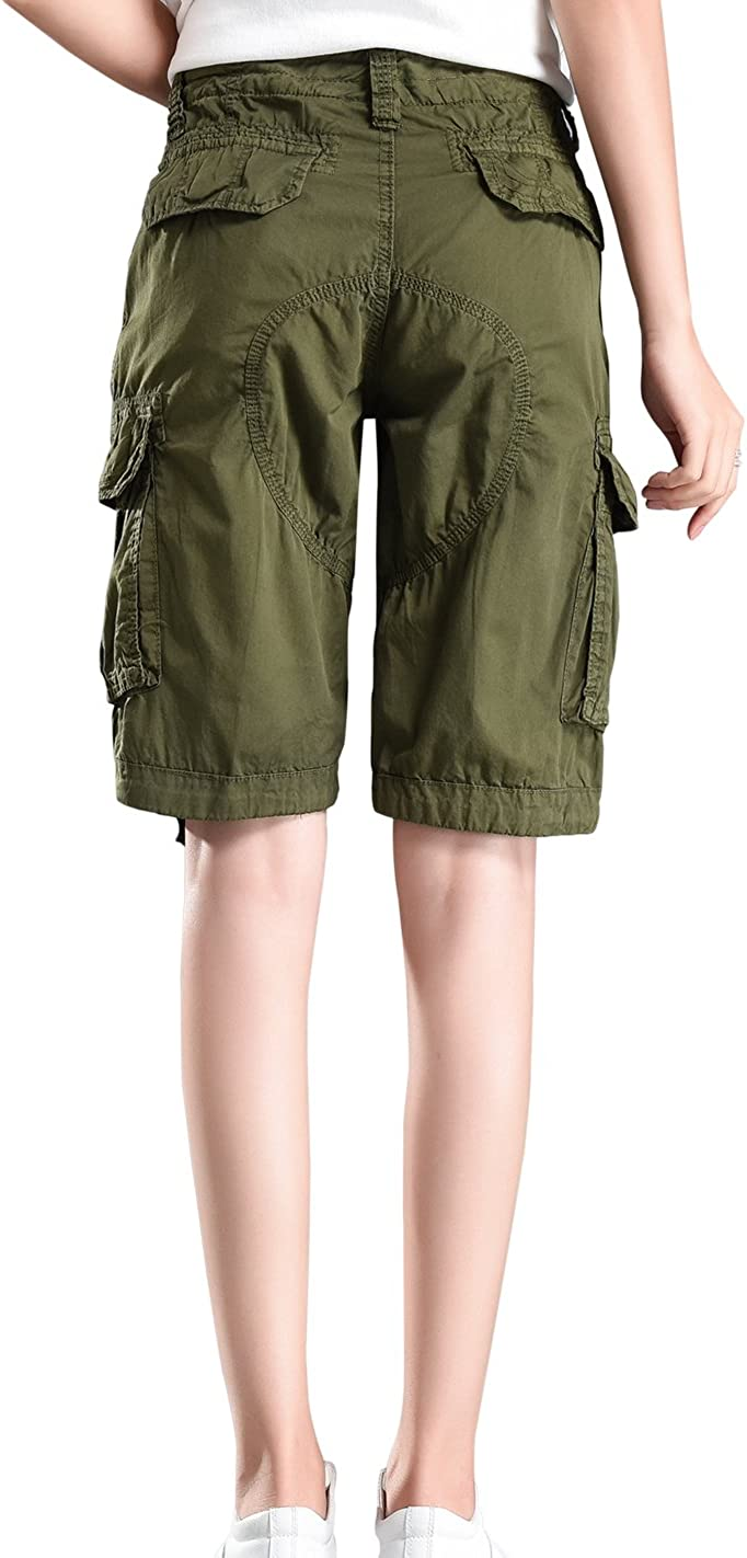 HOWON Womens Cotton Casual Relaxed Fit Plus Size Multi-Pockets Bermuda Cargo Shorts