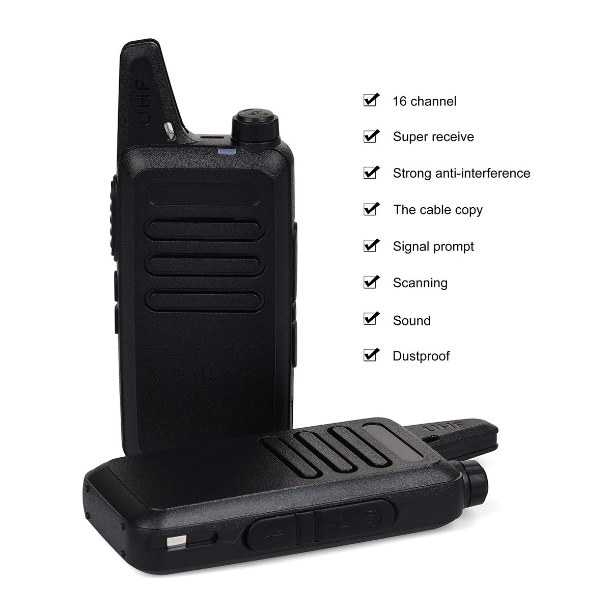 Swiftion Rechargeable Walkie Talkies for Hunting Long Range 2 Way Radio Walky Talky Rechargable Professional interphone for Trave for Police 16 Channel 2 Way Radios with Charger (Pack of 2) by Swiftion (Image #5)