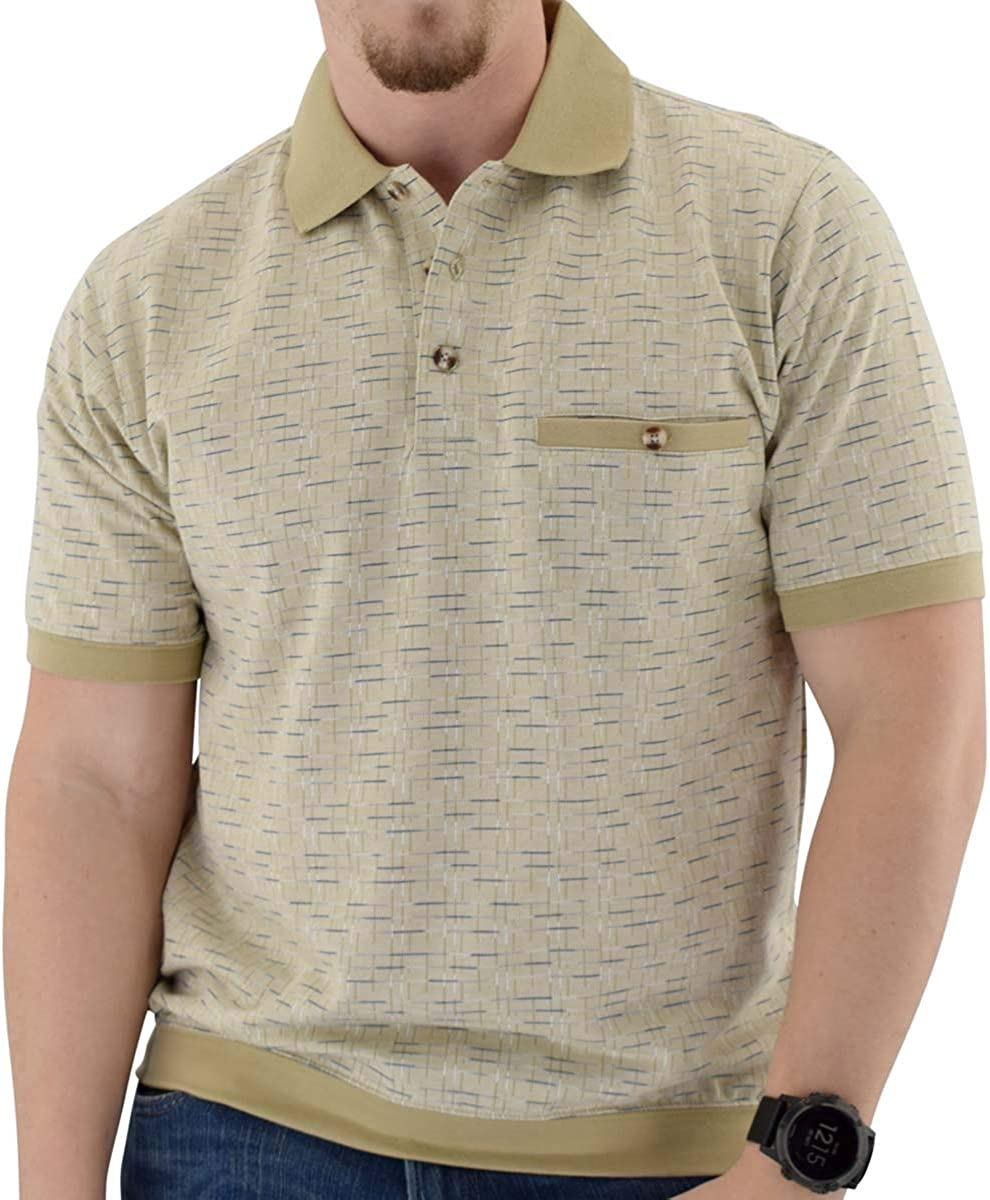 Classics by Palmland Short Sleeve 3 Button Banded Bottom Knit Collar Shirt