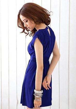 Dayiss ® señoras elegantes vestido de verano sin mangas del V-cuello corto de mini vestidos de noche de lentejuelas en el escote (azul marino): Amazon.es: ...