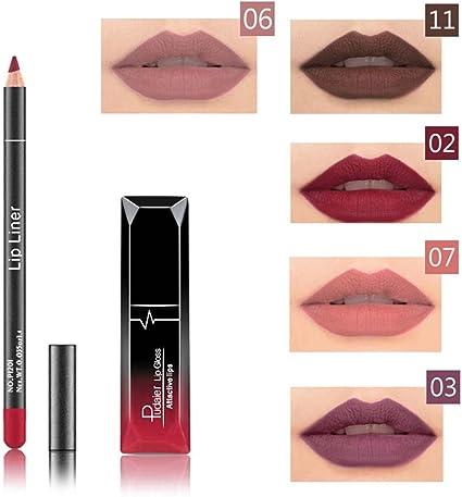 Brillo Pintalabios Permanente y Lápiz Labial Mate Larga Duracion de Maquillaje Profesional 12 Colores para Niñas y Mujer por ESAILQ: Amazon.es: Belleza