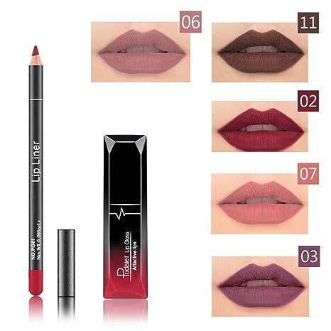 Brillo Pintalabios Permanente y Lápiz Labial Mate Larga Duracion de Maquillaje Profesional 12 Colores para Niñas