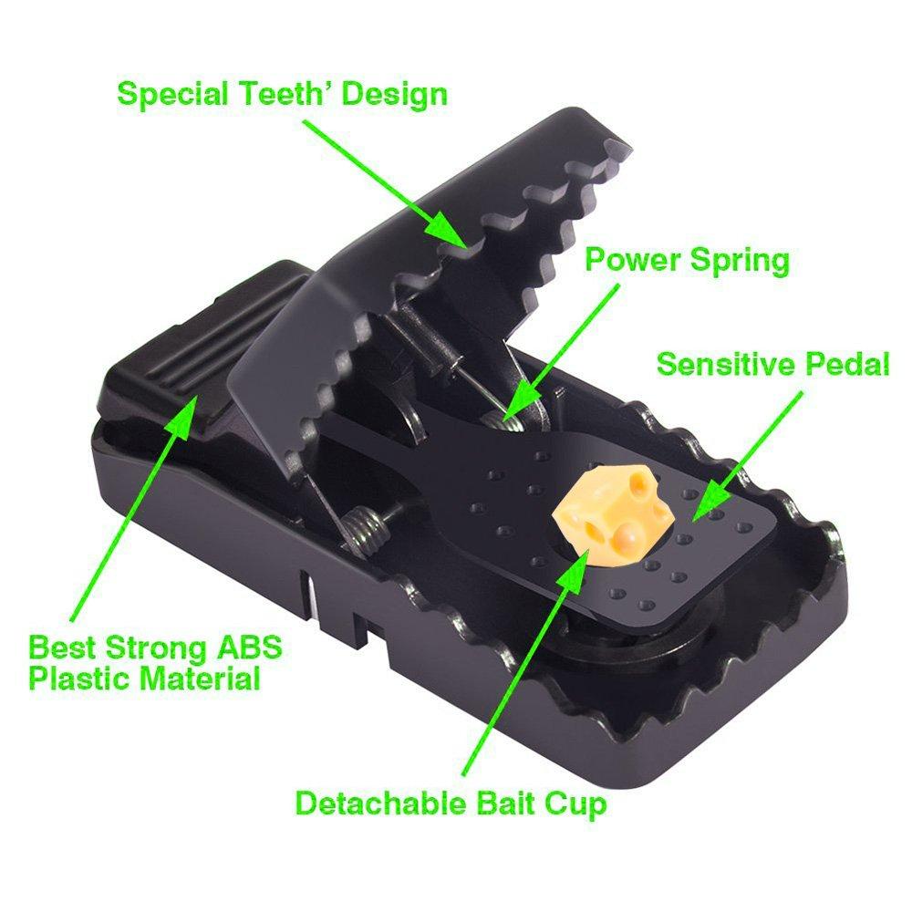 Reutilizables para Rat/ónes,Negro 4Pcs Trampa en Pl/ástico y Acero Inoxidable niceEshop Trampa del Rat/ón, TM