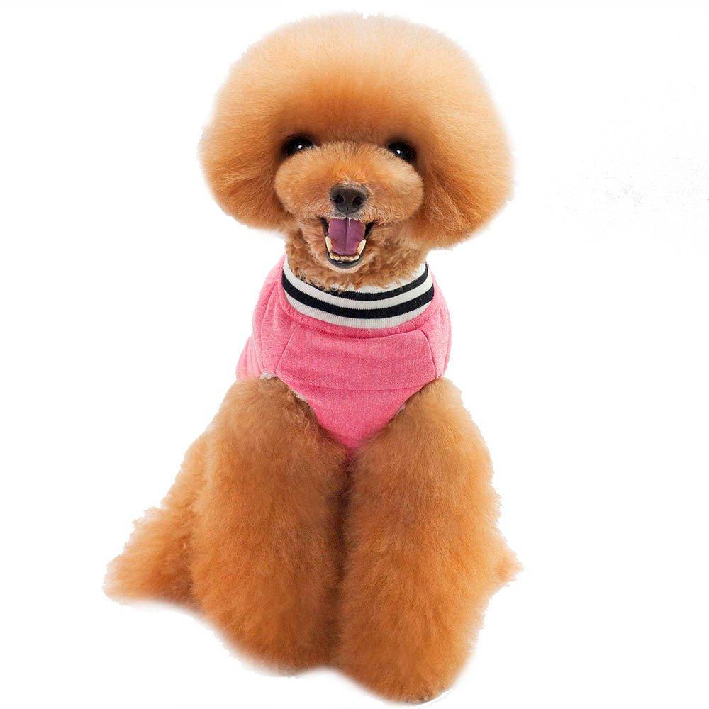 Vetement Chien,Mode épais Chien de Compagnie Mini Baseball Coton vêtements Manteau Chiot Chien Costume,Pet Manteaux (L, Rose) Kaiki Vetement Chien Vetement