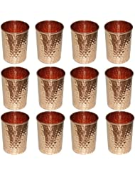 Pure Copper Set of 12 Glasses, Indian Drinkware Ayurvedic Product Hammered Tumbler for Healing, Capacity 350 ML