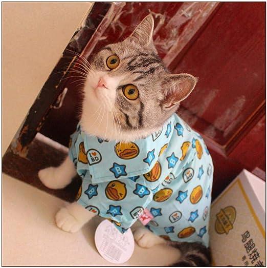 Pato de dibujos animados, camisa delgada para mascotas, gato, verano, lindo, gato, ropa, corta británica, corta, Garfield, gato, ropa, dos pies @ Xiao Yan, no afecta el uso de una rosa one_M: