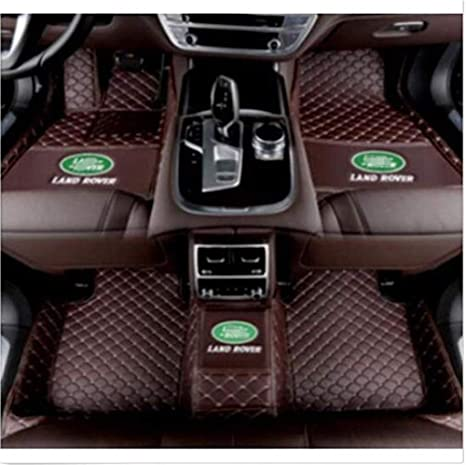 Custom Car Floor Mats for Land Rover Range-Rover-Sport 5-Seats 2014-2019 Full Surrounded Waterproof Anti-Slip All Weather Protection Leather Material Car mat Carpet Liners Brown