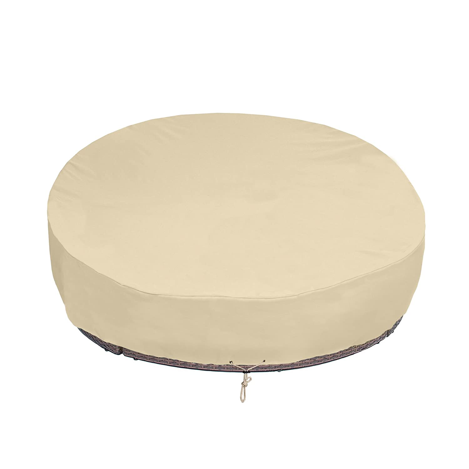 """SunPatio Round Patio Daybed Cover 88 Inch, Heavy Duty Outdoor Canopy Daybed Sofa Cover with Waterproof Sealed Seam, 88"""" L x 85"""" W x 35""""/16"""" H, All Weather Protection, Beige"""