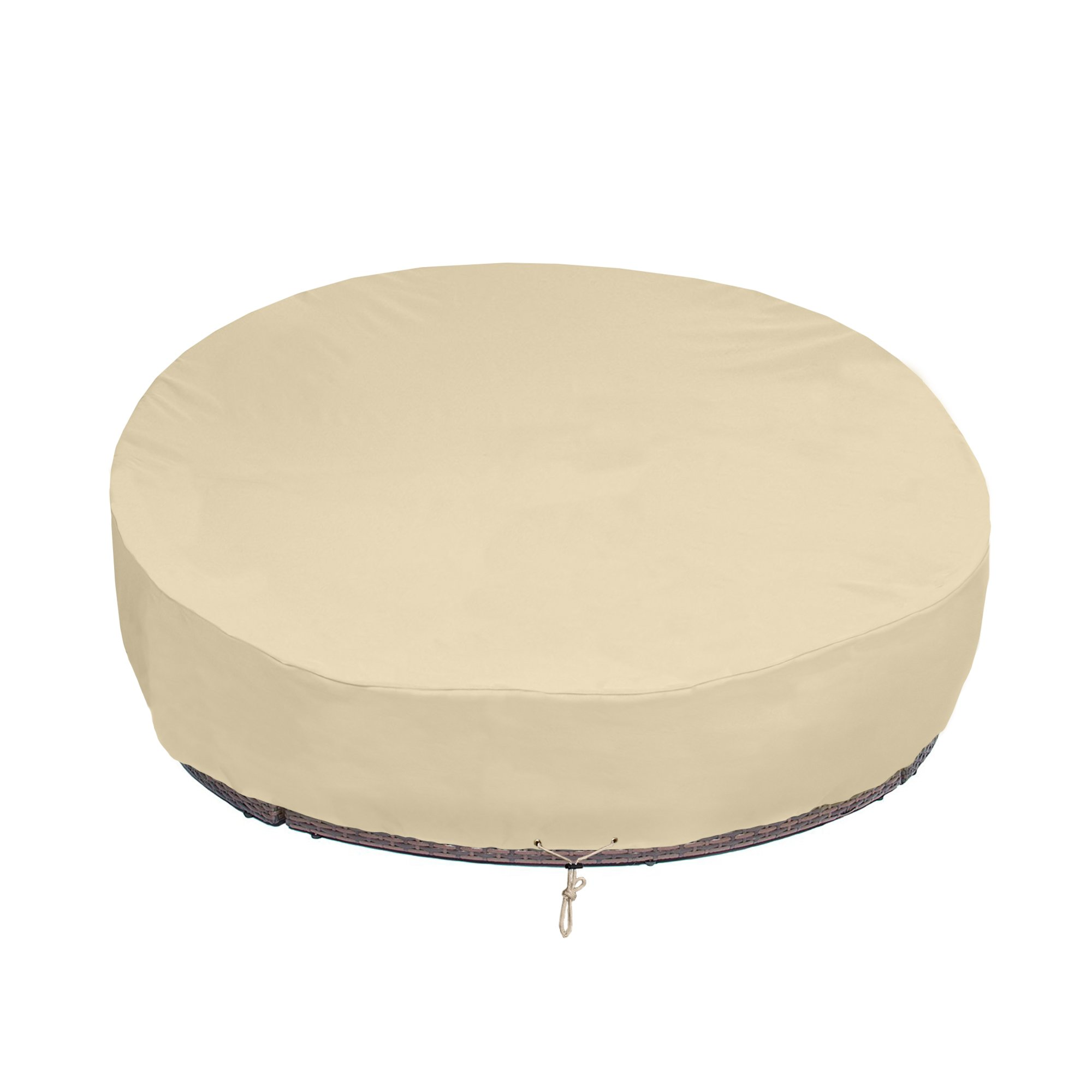 SunPatio Round Patio Daybed Cover 88 Inch, Heavy Duty Outdoor Canopy Daybed Sofa Cover with Waterproof Sealed Seam, 88'' L x 85'' W x 35''/16'' H, All Weather Protection, Beige by SunPatio