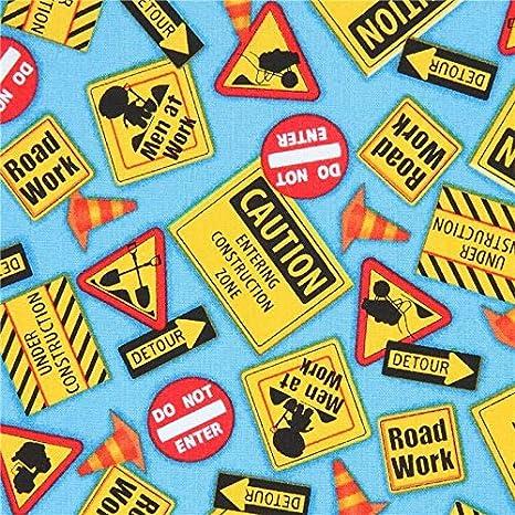 Tela azul con señal cartel obra carretera precaución de ...