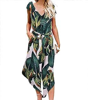 787c282881d7 BELONGSCI Women Outfit Sleeveless Shoulder Bandage Waistband Sexy V-Neck  Wide Leg Long Jumpsuit with