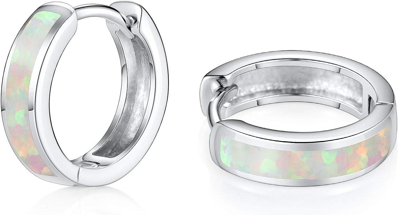 Kzslive Kleine Creolen 925 Sterling Silber Opal klappbare Creolen Huggie zierliche hypoallergen Ohrringe Geburtstagsgeschenk f/ür Frauen M/ädchen
