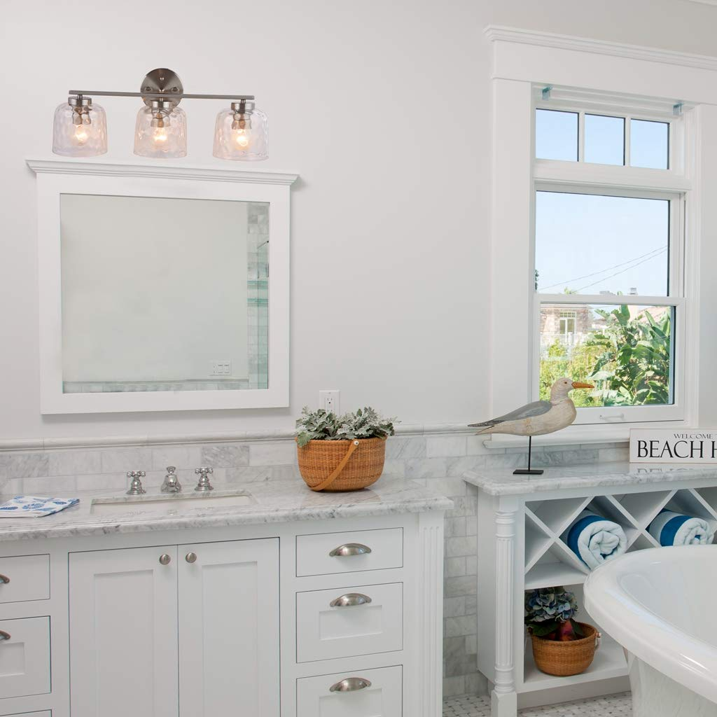 Alice House 20'' Vanity Lights with Hammered Glass, 3 Light Wall Lighting, Brushed Nickel Bathroom Lights Over Mirror, Bathroom Lighting AL6091-W3 by ALICE HOUSE (Image #3)