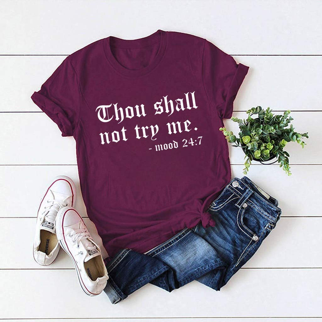 Shakumy Thou Shall NOT Try ME T-Shirt Women Funny Letter Printed Cute Shirt Summer Loose Short Sleeve Tops Casual Tee Blouse