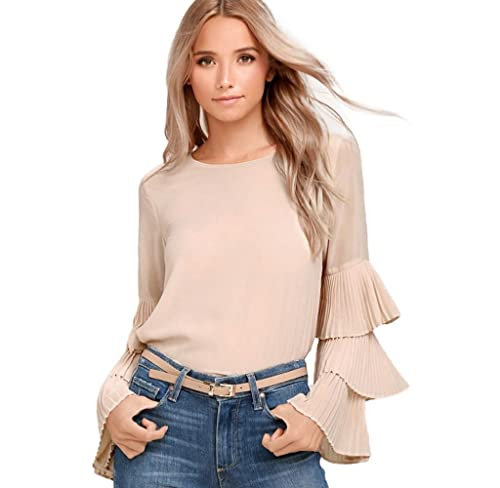 Blusa de 3 capas gasas de manga larga, Holacha Camisa Tops Moda Elegante Casual para Señoras Mujeres
