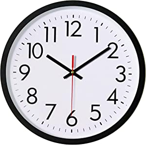 Lumuasky Black Wall Clock, Silent Non-Ticking 12 Inch Quality Quartz Battery Operated Round Easy to Read Decorative for Home Office School