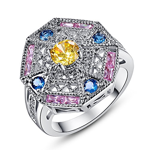 Psiroy 925 Sterling Silver Chic Citrine Cluster Cocktail Filled Ring for Women