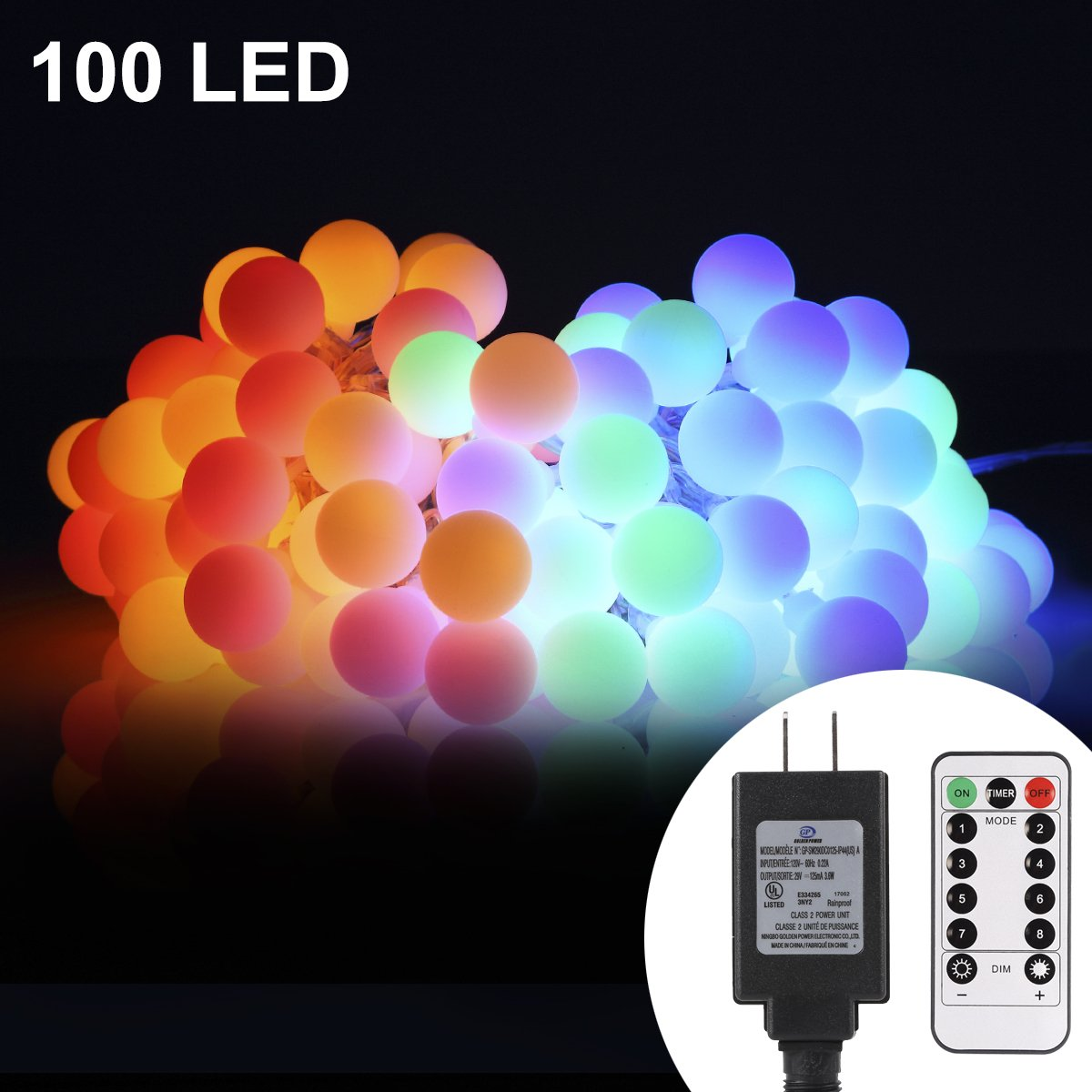 ProGreen 33ft 100 LED Globe String Lights, 8 Dimmable Lighting Modes with Remote & Timer, UL Listed 29V Low voltage Waterproof Decorative Lights for Bedroom, Patio, Garden, Parties(Multi Color)