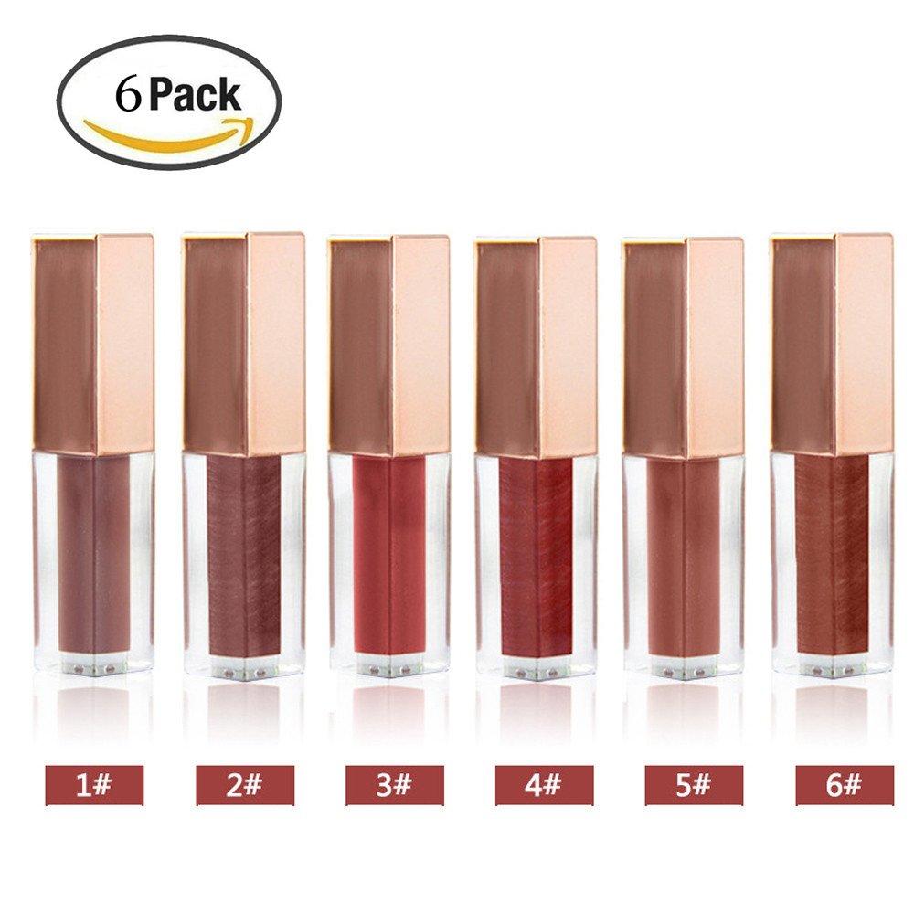 Alonea Glossy Lip Gloss, Women Nude Velvet Glossy Lip-Gloss Lipstick Lip Cream Lip Gloss 6 Pack❤️