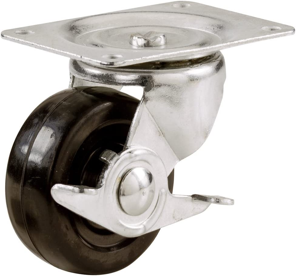 Shepherd Hardware 9509 2-Inch Soft Rubber Swivel Plate Caster with Side Brake, 90-lb Load Capacity