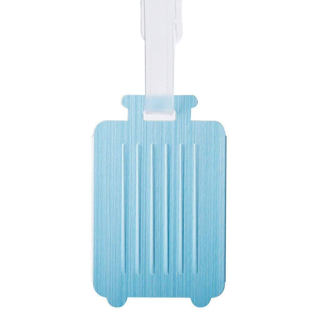 Luggage Tags Aluminum Suitcase Labels with Adjustable Strap Checked Baggage Tags Privacy Cover for Men Women Cruise Ships (Light blue)
