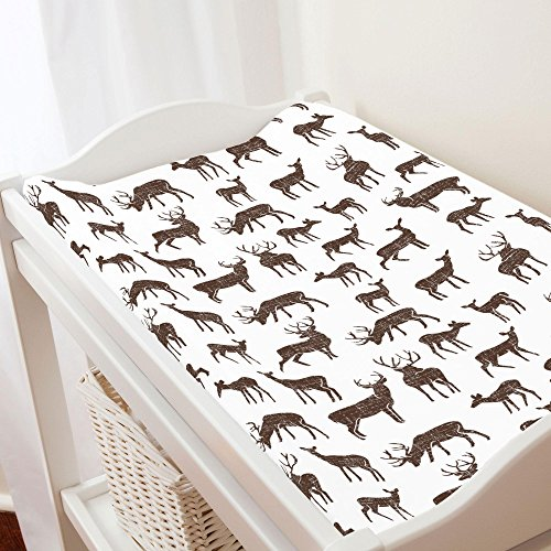 Mocha Cotton Organic (Carousel Designs Mocha Deer Changing Pad Cover - Organic 100% Cotton Change Pad Cover - Made in The USA)