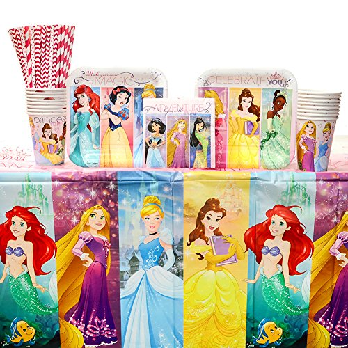 Disney Princess Dream Big Party Supplies Pack for 16 Guests: Straws, Dessert Plates, Beverage Napkins, Table Cover, and Cups ()
