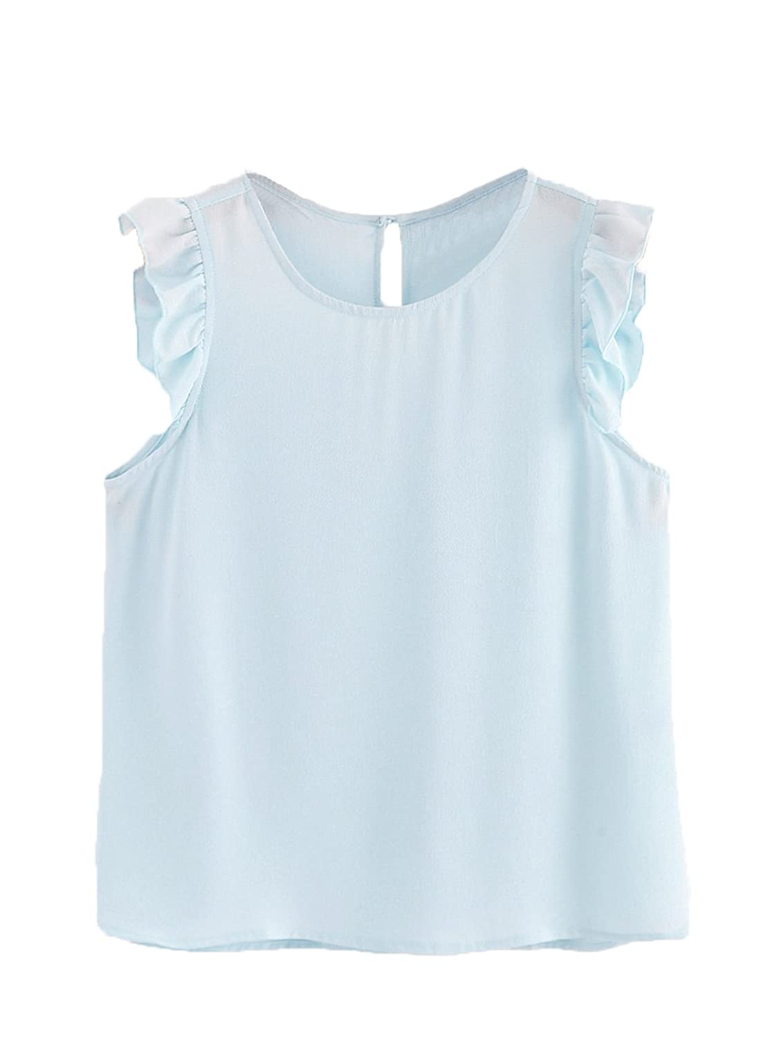 bluee Floerns Women's Summer Round Neck Sleeveless Frilled Keyhole Shirt Blouse Top Black
