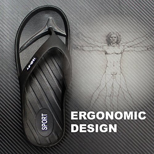 EASTPOLE Flip Flops, Mens Women Sandals Black Brown Slipper Shoes with Toe Post Textured Black