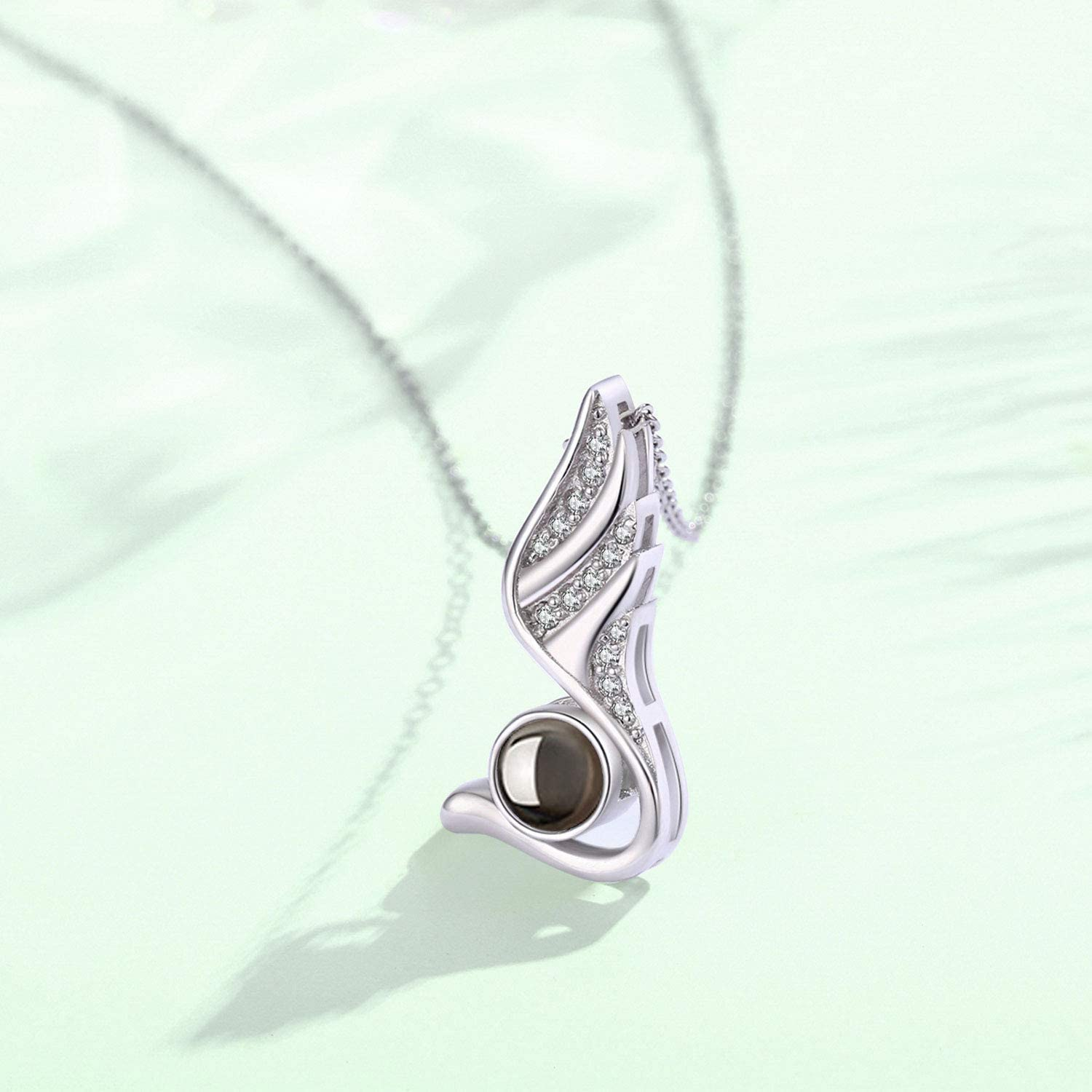 I Love You Necklace 100 Languages,Angle Swan Wing Pendant Projective Necklace for Women,Forever Love Best Jewelry Gift for Mom//Wife//Girlfriend