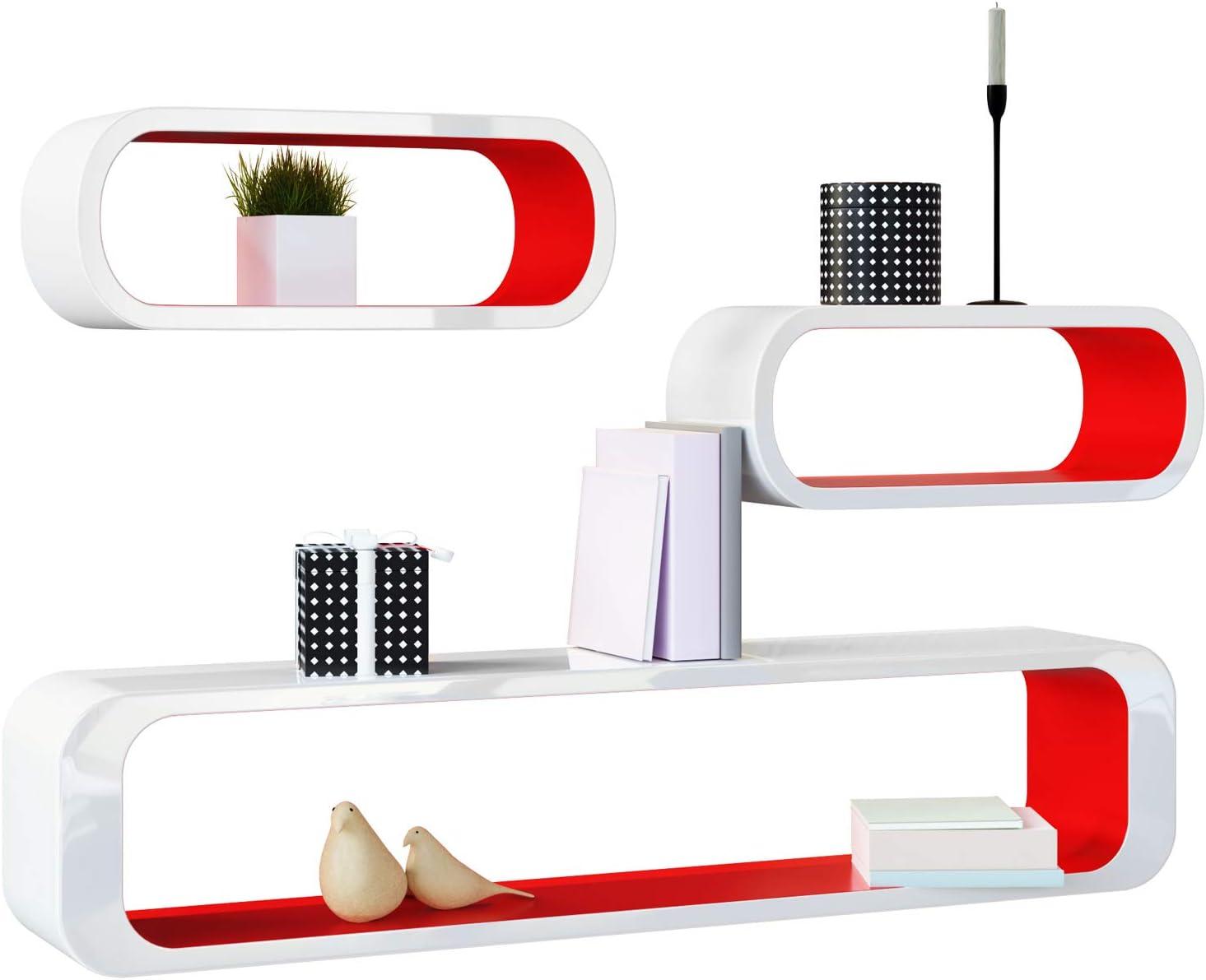 Deuba Wandregal Wandboard 3er Set Rot Weiss Hochglanz Cube Design