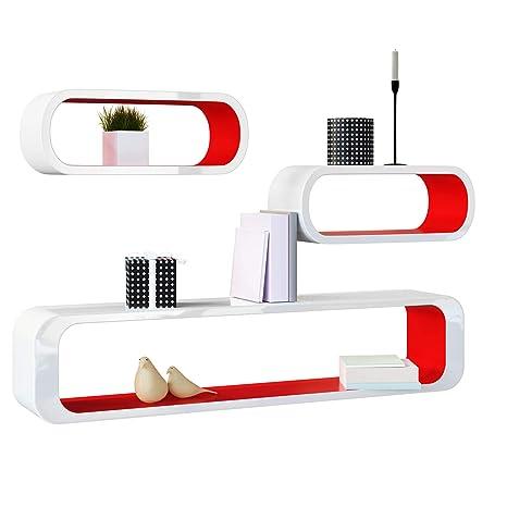 Deuba Set di 3 mensole moderne da parete in Stile Retrò bianco/rosso ...