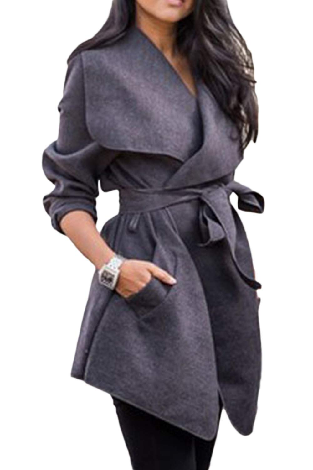 yulinge Womens Wool Coat Collar Open Front Cardigan Trenchcoat with Belt