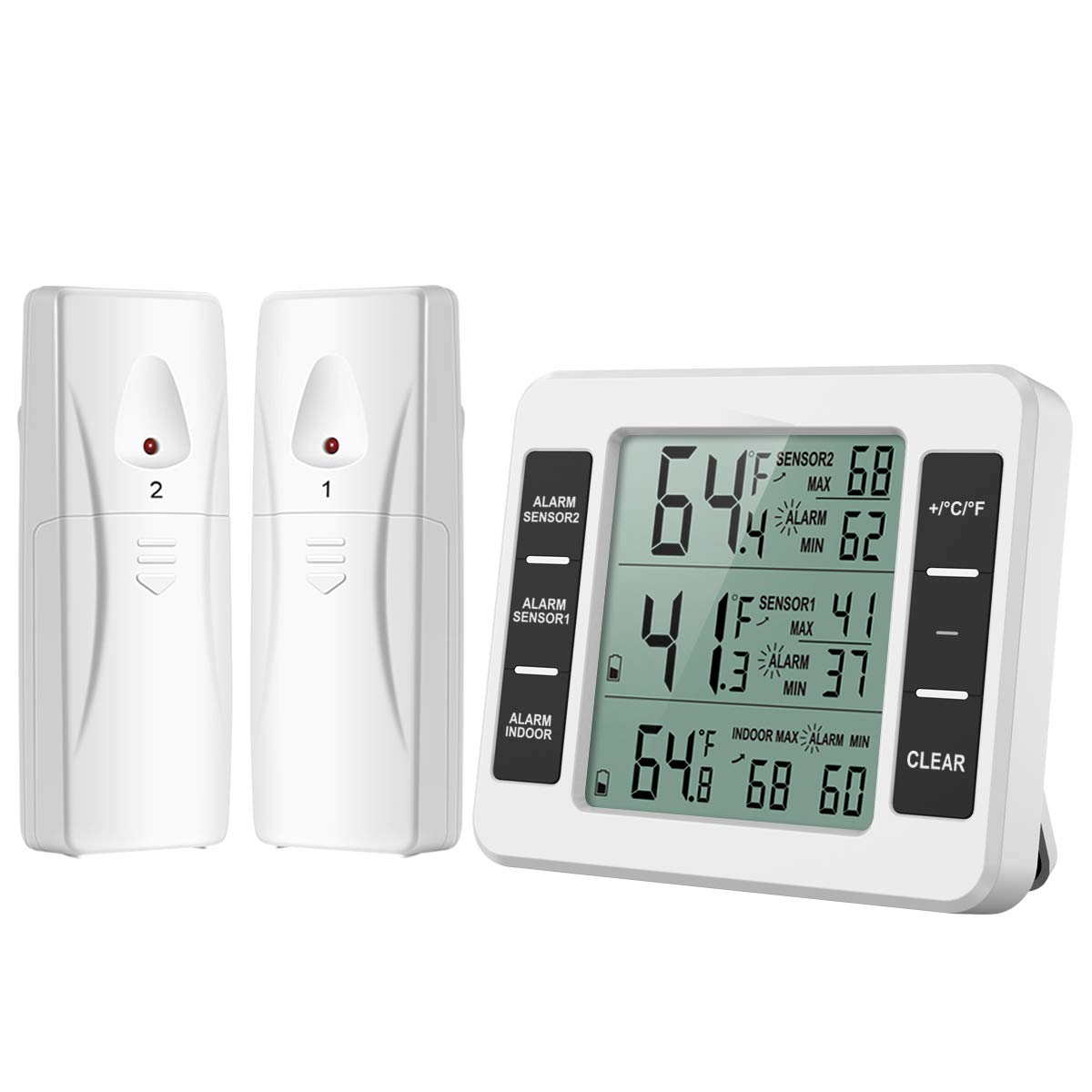 【NEW VERSION】Indoor Outdoor Thermometer, Refrigerator Thermometer, Sensor Temperature Monitor with Audible Alarm Temperature Gauge for Freezer Kitchen Home (Battery not Included)