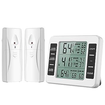 ORIA Termómetro Digital del Refrigerador, Interior/Exterior Termómetro de Congelador de Frigorífico Magnética Digital LCD, con Audible de la Alarma, ...